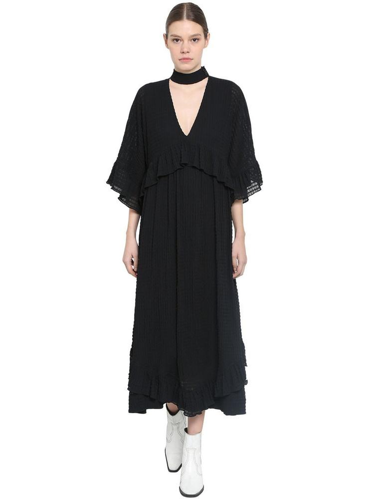 GANNI Light Seersucker Midi Dress in black