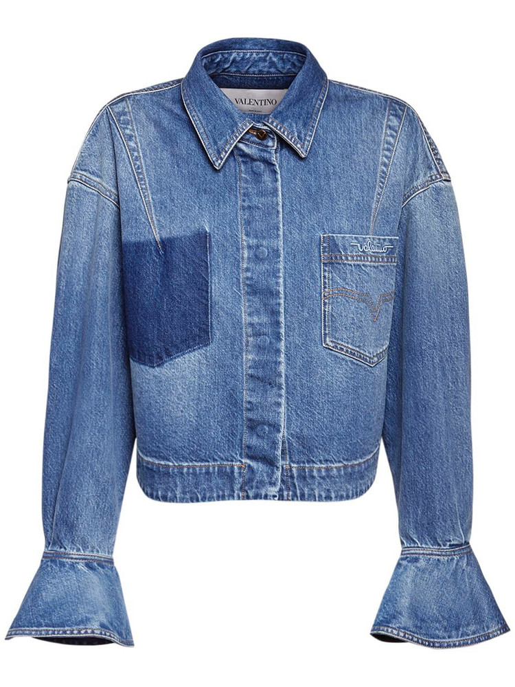 VALENTINO Signature Logo Cotton Denim Jacket