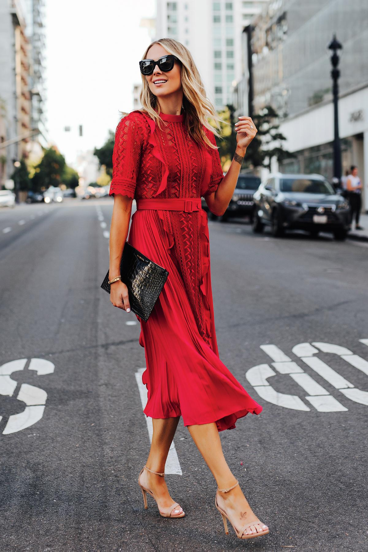 fashionjackson blogger dress bag sunglasses shoes red dress spring outfits high heel sandals clutch pleated dress sandal heels black bag
