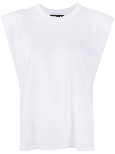 Styland structured cap sleeves top in white