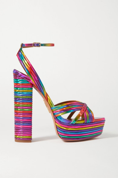 Aquazzura - Sundance 140 Metallic Faux Leather Platform Sandals - Pink