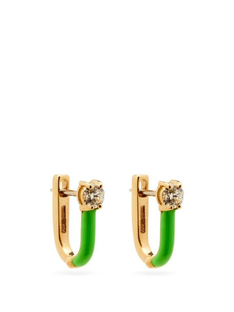 Melissa Kaye - Aria Diamond, Enamel & 18kt Gold Earrings - Womens - Green Gold