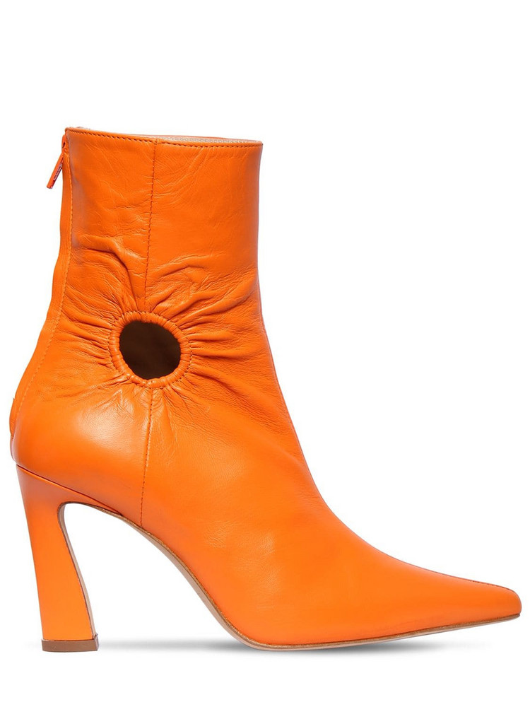 KALDA 80mm Fory Leather Ankle Boots in orange