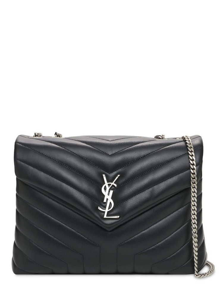 SAINT LAURENT Medium Loulou Y-quilted Leather Bag in nero
