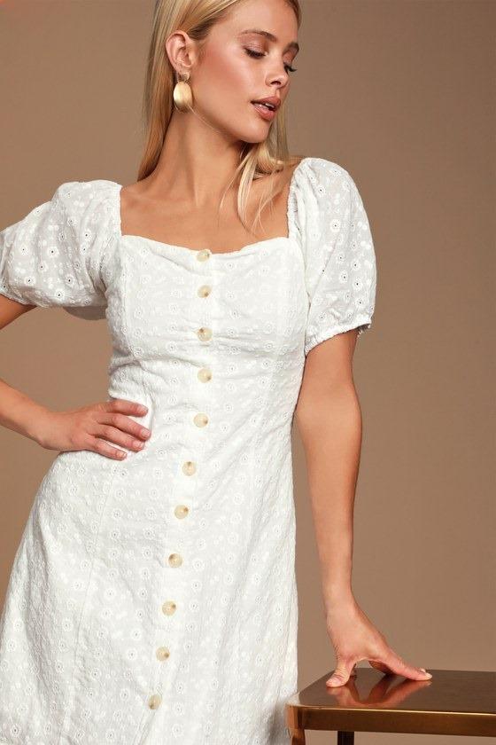 Sweet Sonata White Eyelet Button Front Puff Sleeve Dress
