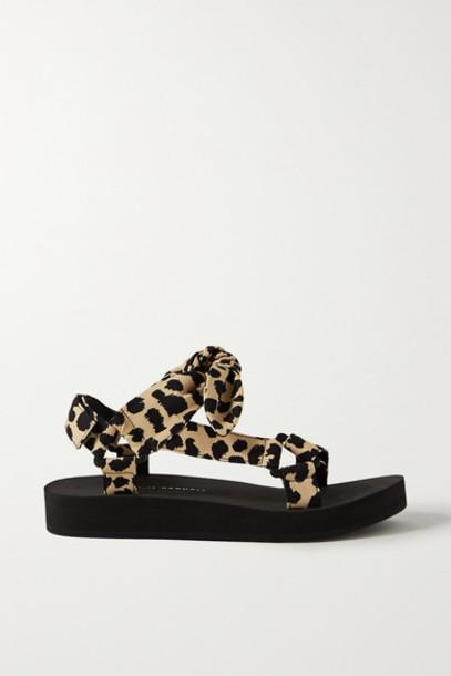 Loeffler Randall - Maisie Bow-embellished Leopard-print Canvas Sandals - Leopard print