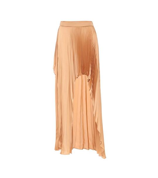 Stella McCartney Allora pleated satin midi skirt in neutrals
