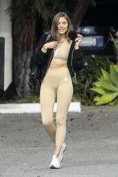 top,nude,leggings,olivia culpo,blogger,sportswear