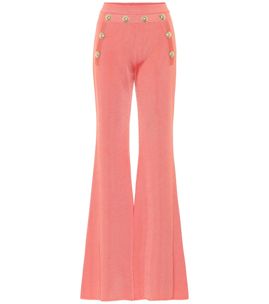 Balmain High-rise flared knit pants in pink