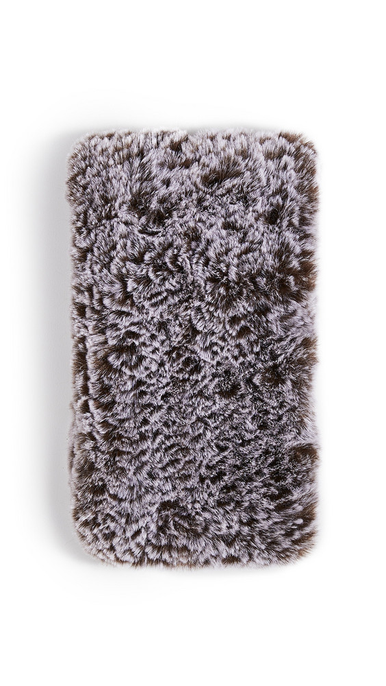 Adrienne Landau Faux Fur Knit Elastic Scarf in grey