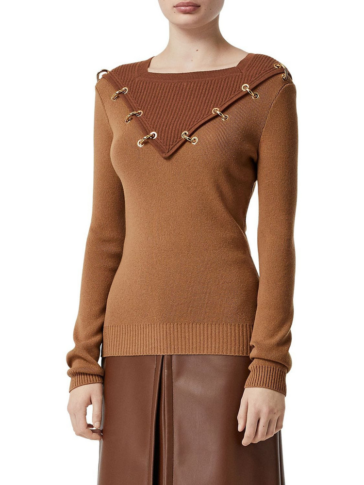 BURBERRY Wool & Cashmere Knit Sweater W/gold Ring in camel