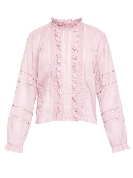 Isabel Marant Étoile - Valda Ruffled Cotton Blouse - Womens - Pink
