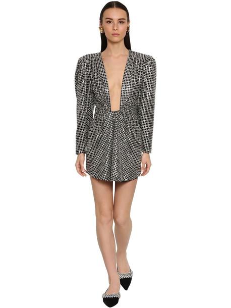 DANIELE CARLOTTA Draped Backless Lurex Mini Dress in silver