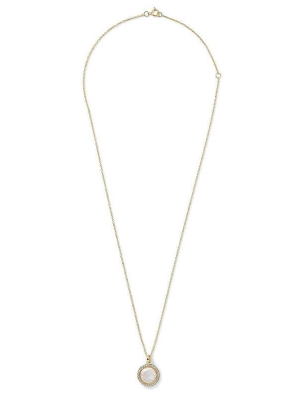 IPPOLITA 18kt yellow gold mini Lollipop mother-of-pear, diamond and clear quartz pendant necklace