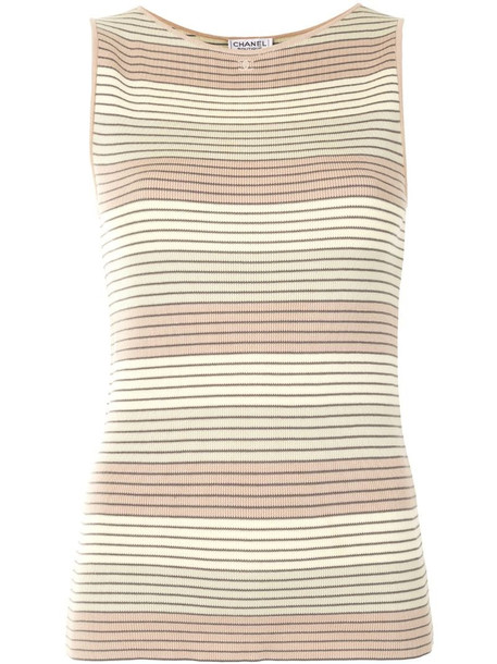 Chanel Pre-Owned 1998 knitted striped top in yellow