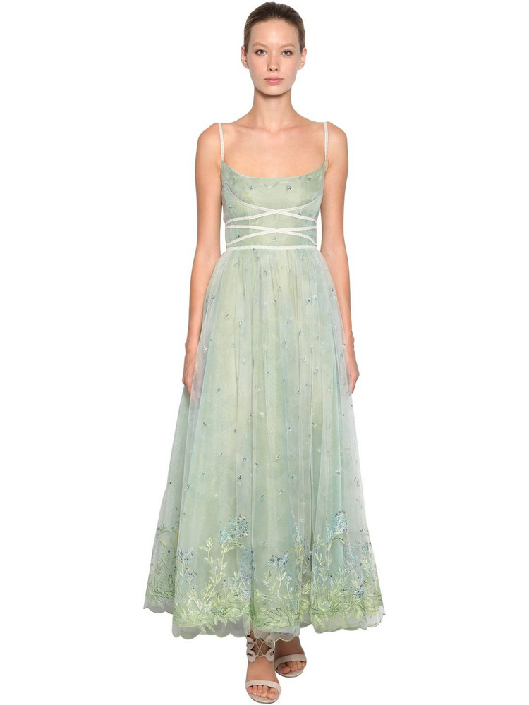 LUISA BECCARIA Embroidered Tulle Dress in blue / green
