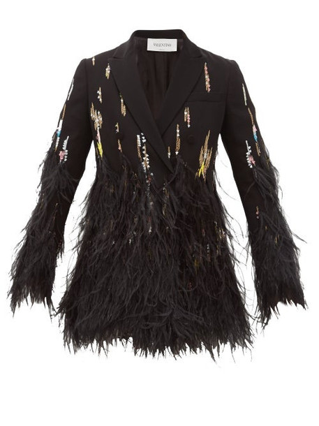 Valentino - Double-breasted Feather-trimmed Crepe Jacket - Womens - Black Multi