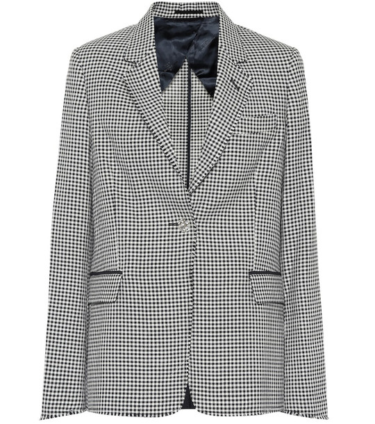 Golden Goose Checked wool and cotton blazer in blue