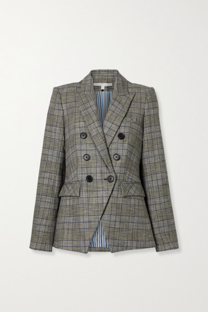 Veronica Beard - Miller Dickey Double-breasted Checked Tweed Blazer - Gray
