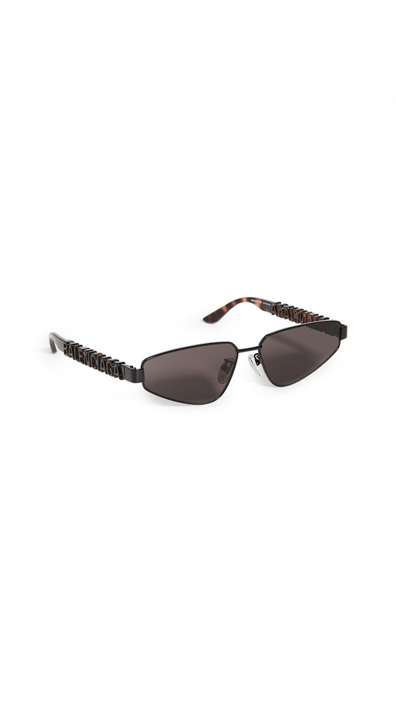 Balenciaga Typo Narrow Logo Temple Sunglasses in black / grey