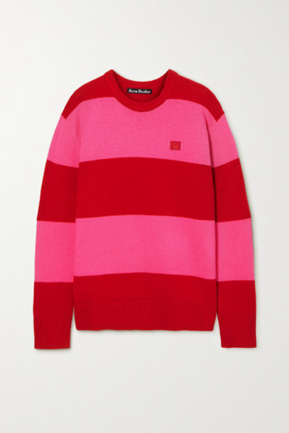 Acne Studios - Oversized Appliquéd Striped Wool Sweater - Red