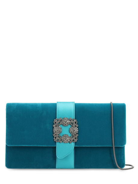 MANOLO BLAHNIK Capri Embellished Velvet & Satin Clutch in blue