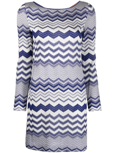 Missoni zigzag knitted dress in blue