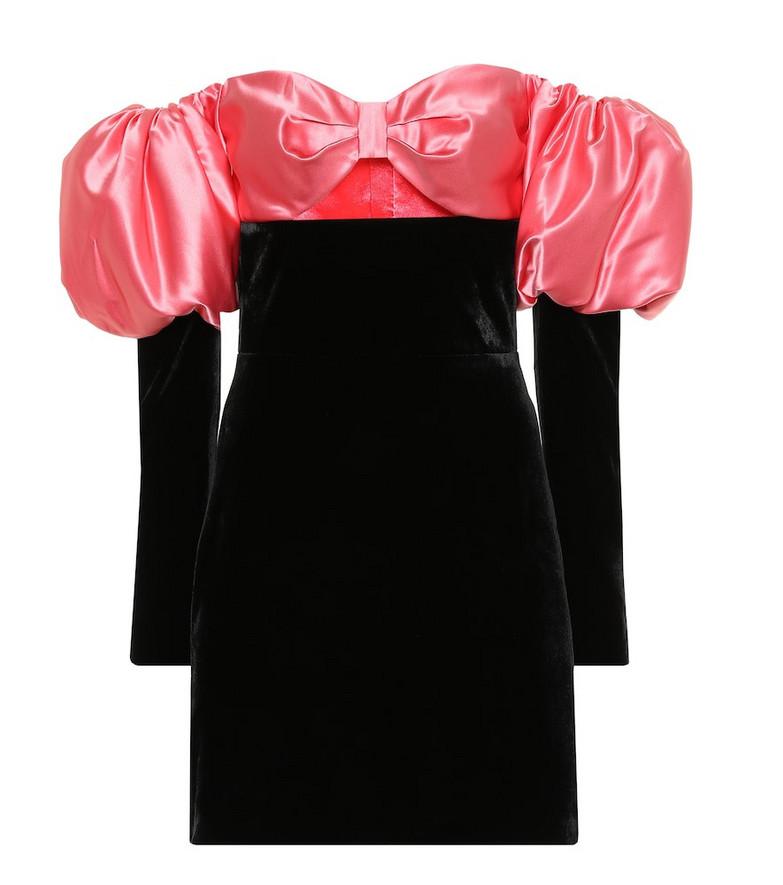 RASARIO Velvet and satin minidress in black