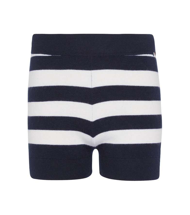 extreme cashmere N° 179 Very striped stretch-cashmere shorts in blue