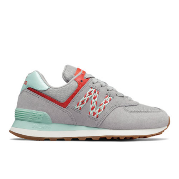 New Balance 574 Women's 574 Shoes - Grey/Blue/Pink (WL574LDL)