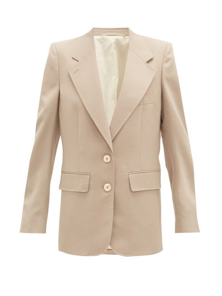 Lemaire - Single-breasted Twill Suit Jacket - Womens - Beige
