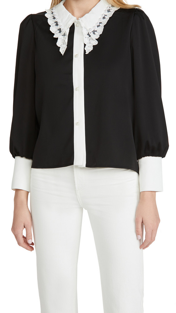 Sister Jane RSVP Lace Collar Blouse in black / white
