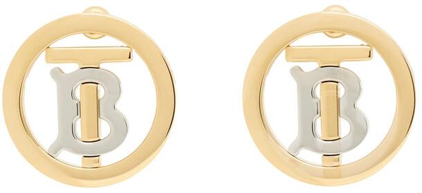 Burberry Gold Monogram Motif Earrings
