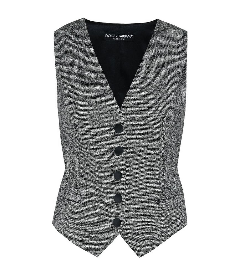 Dolce & Gabbana Wool and silk-blend vest in grey