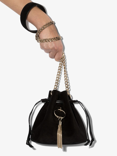 Jimmy Choo black Callie drawstring suede bag