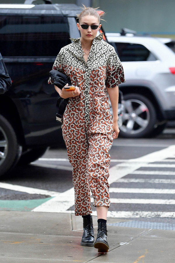 jumpsuit gigi hadid model off-duty streetstyle celebrity pants shirt