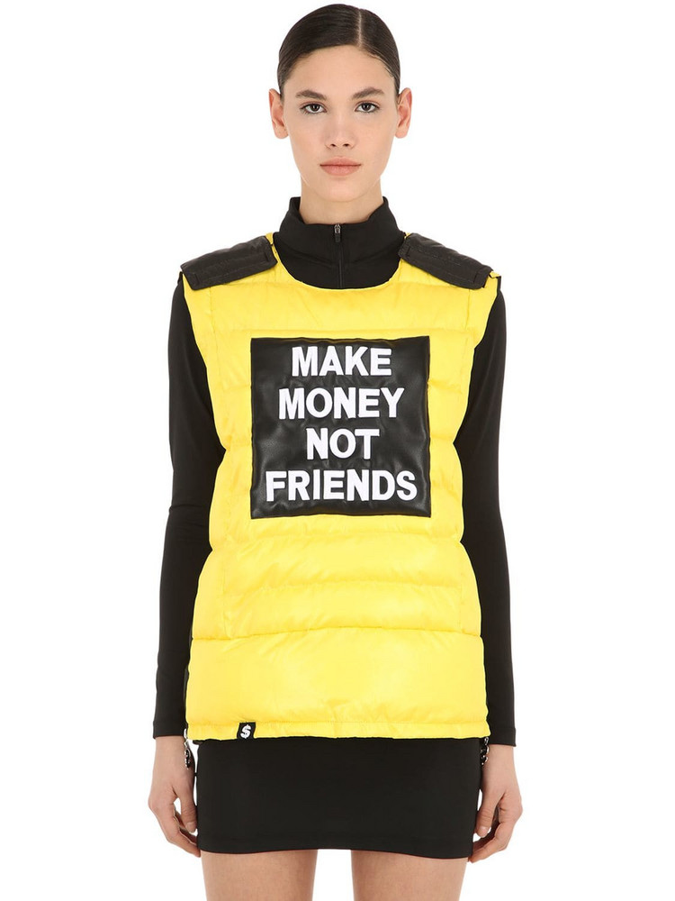 MAKE MONEY NOT FRIENDS Logo Patch Bulletproof Jacket Vest in yellow