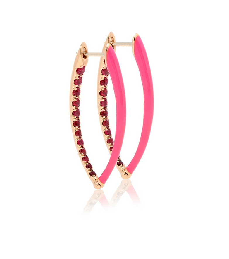 Melissa Kaye Cristina 18kt rose-gold and ruby earrings in pink