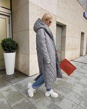 shoes,white sneakers,prada,long coat,grey jacket,pants,bag