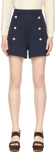 See by Chloé See by Chloé Navy High-Waisted Sailor Shorts in blue