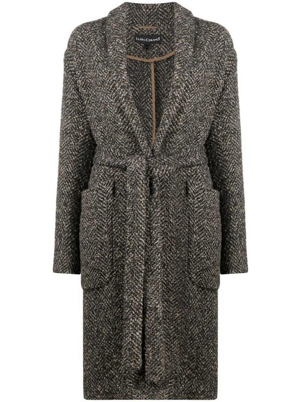 Luisa Cerano speckled-knit coat in brown