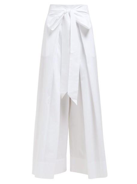 Kalita - Tied Waist Wide Leg Cotton Poplin Trousers - Womens - White