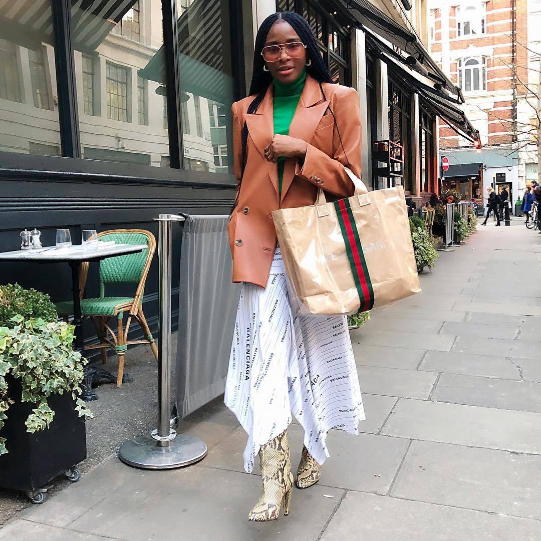 skirt white skirt asymmetrical dress snake print boots leather blazer knee high boots turtleneck gucci bag balenciaga