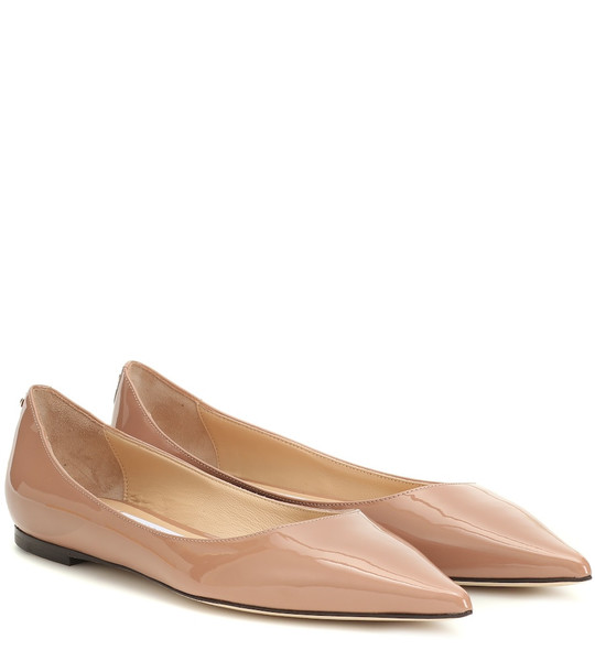 Jimmy Choo Romy Flat patent leather ballet flats in beige