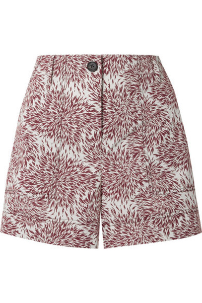 By Malene Birger - Danise Printed Cotton-poplin Shorts - Claret