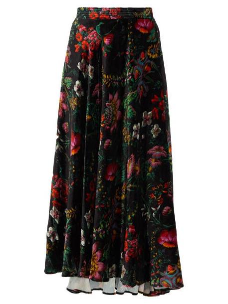 Paco Rabanne - Crystal-embellished Floral-print Velvet Skirt - Womens - Black Multi