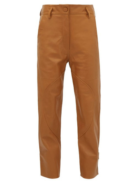 Petar Petrov - Hunter High-rise Leather Trousers - Womens - Brown