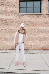 bows&sequins,blogger,jeans,scarf,hat,sunglasses,winter outfits,beanie,ballet flats,white jeans
