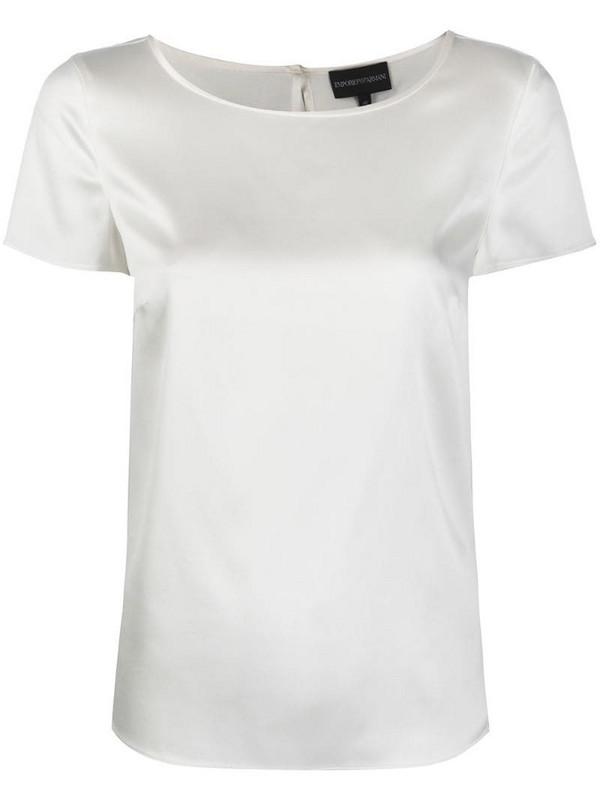 Emporio Armani short sleeve blouse in white
