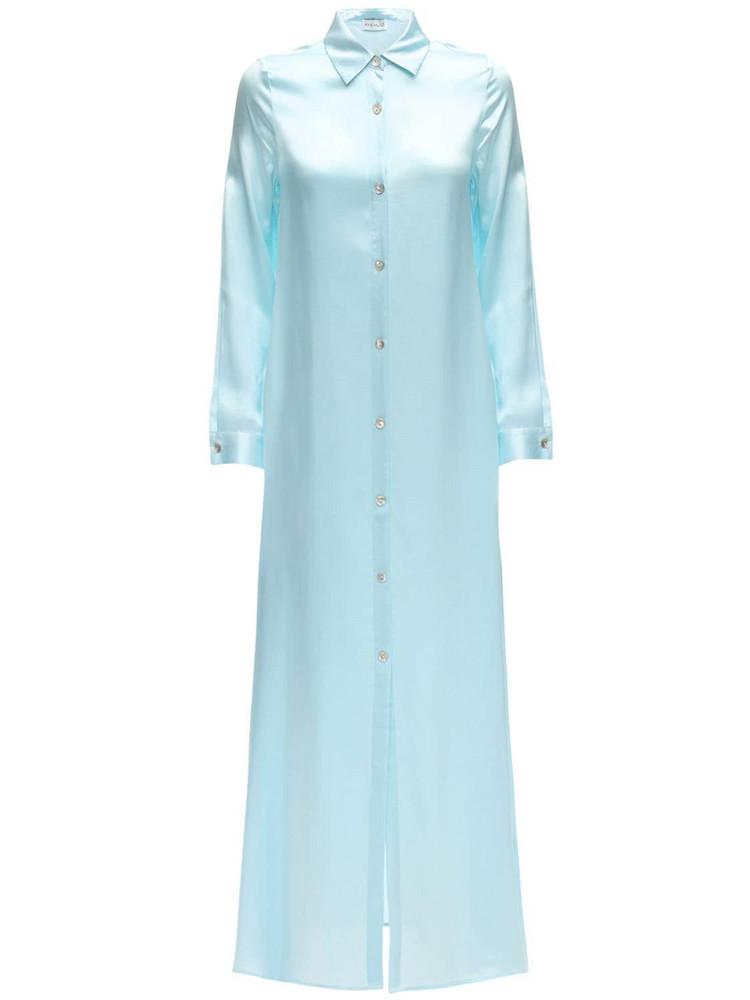 AYA MUSE Sicily Maxi Silk Button Down Shirt Dress in blue